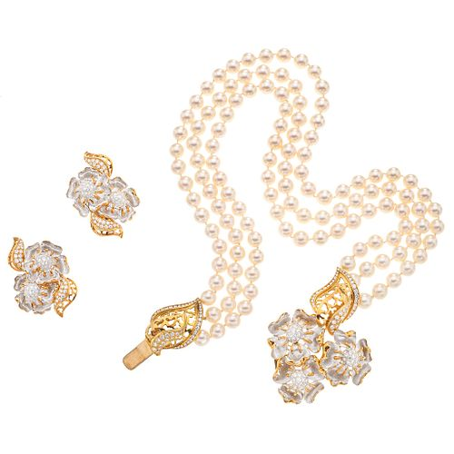 SET OF CHOKER AND PAIR OF EARRINGS WITH CULTIVATED PEARLS AND DIAMONDS IN WHITE AND YELLOW 18K AND 14K GOLD