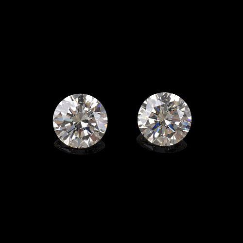 Two GIA 6.41ct TW Round Brilliant Cut Diamonds
