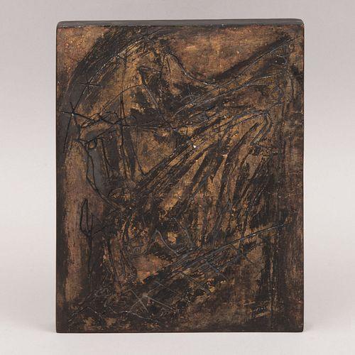 "ALEJANDRO SANTIAGO ""Tablita"" Firmada al reverso En madera grabada 20 x 24.5 cm"