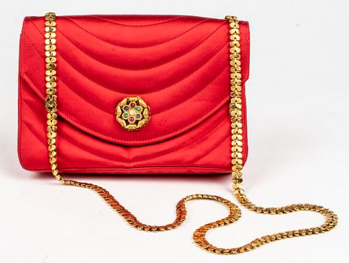 Chanel Quilted Red Satin Handbag