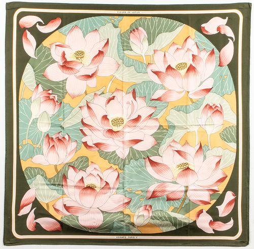 "Hermes ""Fleurs de Lotus"" Silk Scarf"