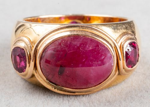Vintage 18K Yellow Gold & Ruby Gypsy-Set Ring