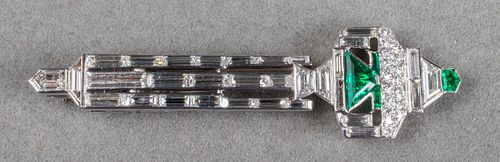 Art Deco Platinum, Diamond & Emerald Brooch / Pin