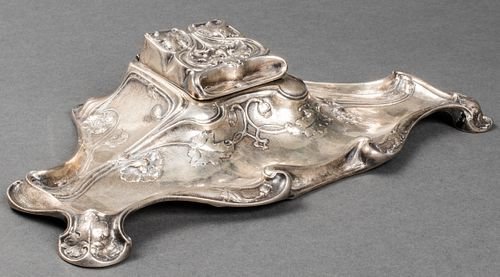 Gorham Art Nouveau Sterling Silver Inkwell, B2342