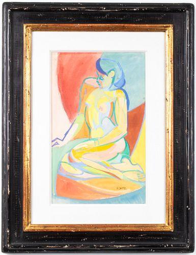 """André Lhote """"Nu Assis"""" Gouache & Watercolor"""