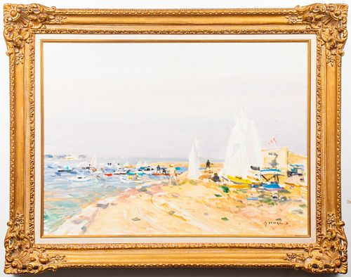 "Gaston Sébire ""Beach Scene"" Large Oil on Canvas"