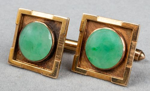 Vintage 14K Yellow Gold Square Jade Cufflinks