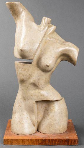 "Guillermo Perdomo ""Torso"" Carved Marble Sculpture"