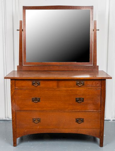Stickley Oak Mirrored Dresser / Chest Of Drawers