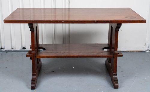 L & JG Stickley Oak Trestle Bungalow / Lunch Table