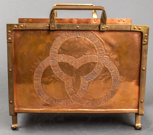Arts & Crafts Hammered Copper Magazine Rack