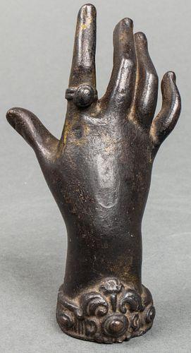 Antique Cast Bronze Sculpture of Woman's Hand