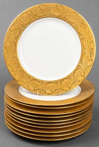 Limoges French Porcelain Gilt Rim Dinner Plates 11