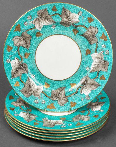 Wedgwood Porcelain Turquoise Rim Dinner Plates, 6