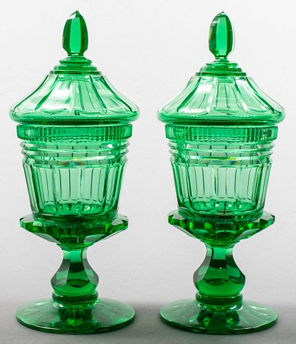 Green Cut Crystal Covered Jars, 19th C.