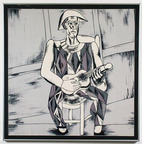 Cubist Guitar Player Silk Scarf, Framed
