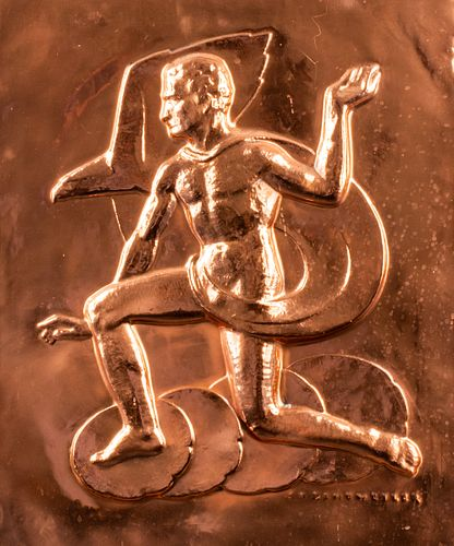 Erwin Springweiler Art Deco Copper Relief Plaque