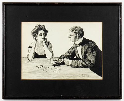 """M. T. Cleaver Signed """"The Card Game"""" Ink Drawing"""