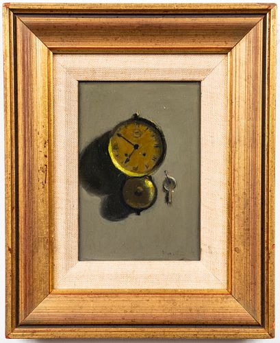 "Richard Pionk ""Clock & Key"" Oil on Board"