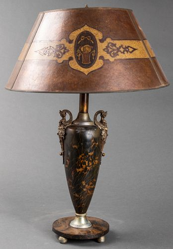 Rococo Revival Table Lamp with Mica Shade