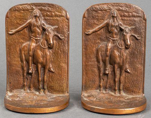 Native American on Horseback Bronze Bookends, Pr