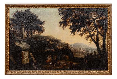 18TH C, ITALIAN CAPRICCIO, LANDSCAPE OIL ON CANVAS