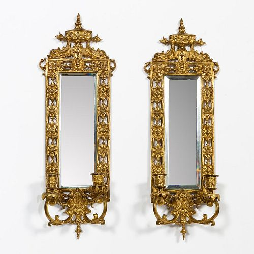 PAIR, NEOCLASSICAL MIRRORED TWO LIGHT SCONCES