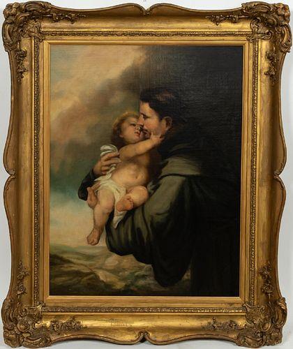 ITALIAN ECCLESIASTIC O/C, SAINT WITH CHILD