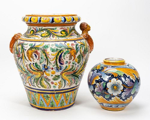 GROUP TWO ITALIAN MAJOLICA FLORAL MOTIF VESSELS