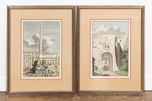 18TH C. PAIR ROMAN HAND COLORED ENGRAVINGS, FRAMED