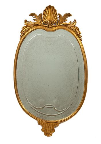 20TH C, ITALIAN OVAL GILTWOOD MIRROR, ANTHEMION