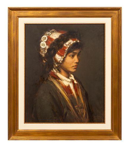 ZHANG LI, PORTRAIT OF A MIAO LADY, OIL ON CANVAS