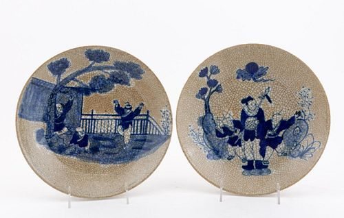 PAIR, CHINESE CRACKLE PLATES W/ BLUE FIGURAL MOTIF