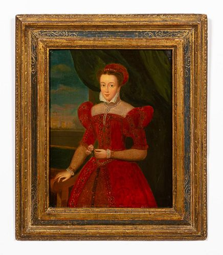 MARY QUEEN OF SCOTS, OIL ON PANEL, GILTWOOD FRAME