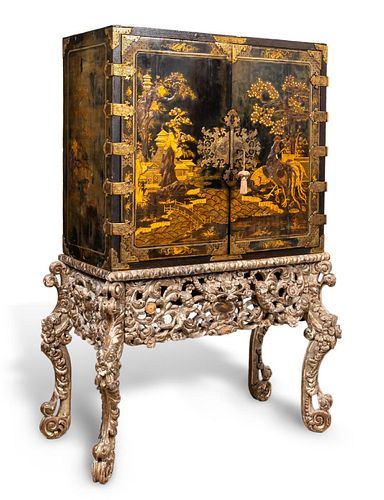 17TH C. BLACK LACQUERED JAPANNED CABINET ON STAND
