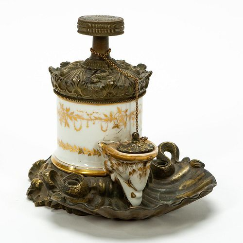 19TH C. FRENCH BRONZE & PORCELAIN PUMP INKWELL