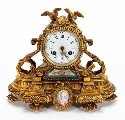 19TH C. FRENCH LOUIS XVI STYLE ORMOLU MANTEL CLOCK