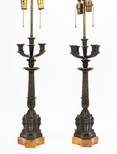 PAIR, 20TH C. FRENCH BRONZE & SIENNA MARBLE LAMPS