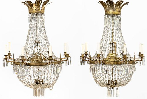 NEAR PR. EMPIRE STYLE GILT & CRYSTAL BASKET CHANDELIERS