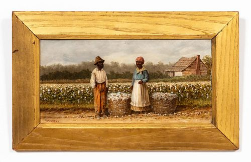 WILLIAM AIKEN WALKER, COTTON PICKERS AND CABIN