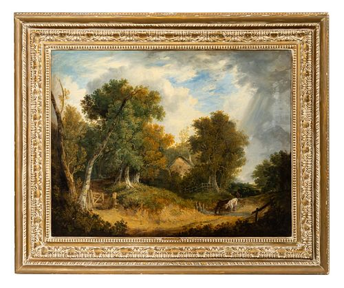 PATRICK NASMYTH, ENGLISH BUCOLIC LANDSCAPE, FRAMED