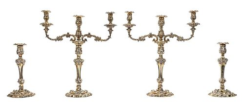 4PC PAIR SILVER GILT CANDELABRA & CANDLESTICKS