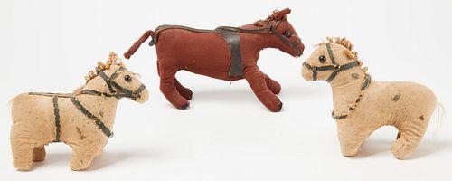 Three Early Stuffed Horses