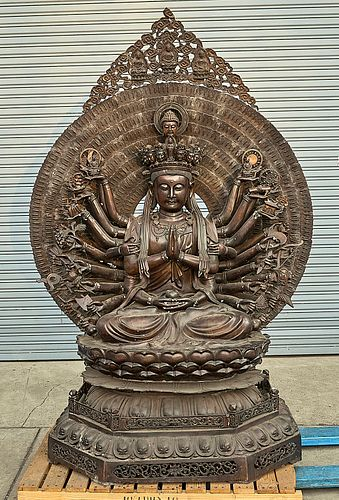 Large Chinese Bronze Thousand Armed Guanyin