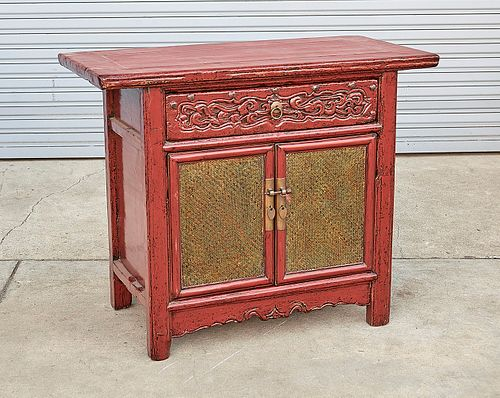 Chinese Painted Hard Wood Chest