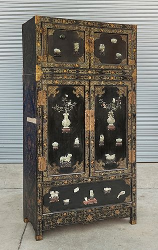 Tall Chinese Painted Hard Wood and Hardstone Cabinet
