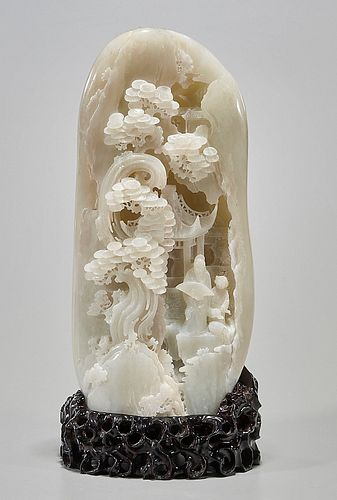 Tall Chinese Jade Carving