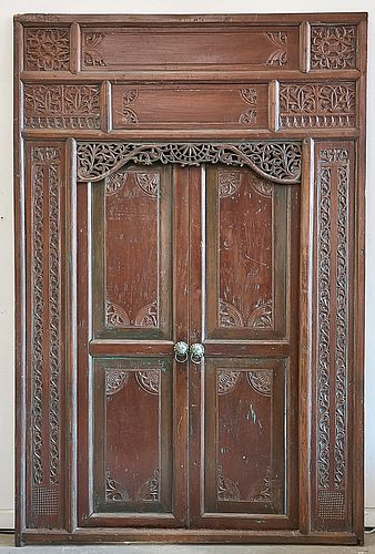 Set of Antique Southeast Asian Carved Hard Wood Doors