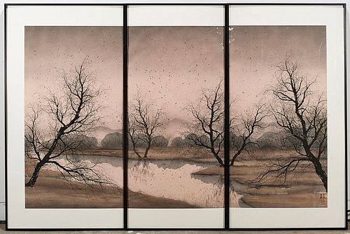 Set of Three Contemporary Chinese Watercolors by Jim Zhang