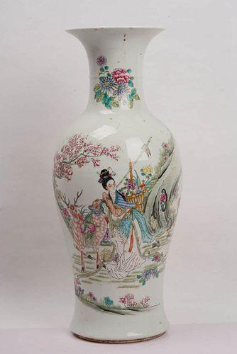 A Famille Rose Flower and Figure Porcelain Vase